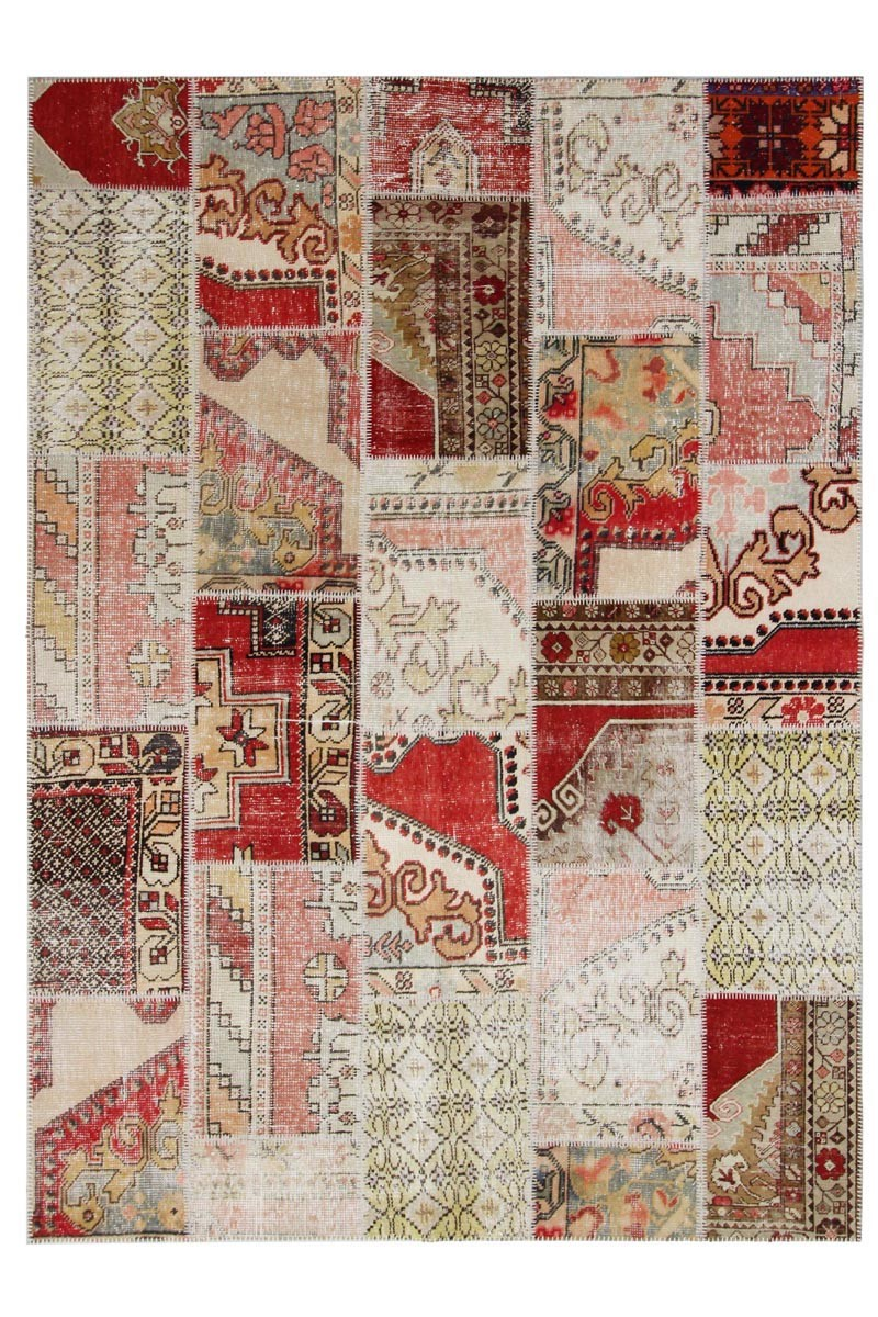 patchwork beigered 240 x 170 30185 - Tapis Patchwork
