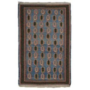 Khorassan Soumak Kilim Blue 196 x 129