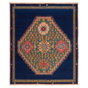 Yenikoy Carpet Blue Green Medallion 17972